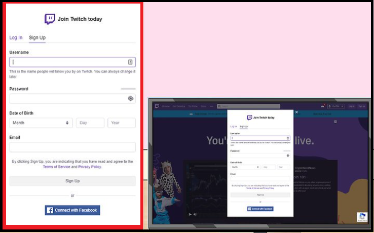 create a Twitch account on pc,